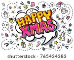 happy xmas message in pop art... | Shutterstock .eps vector #765434383