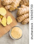 dried and fresh ginger root on... | Shutterstock . vector #765435733