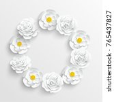 paper flower. white roses and... | Shutterstock .eps vector #765437827