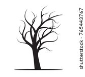 black winter naked tree. vector