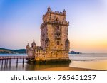sunset over belem tower in... | Shutterstock . vector #765451237