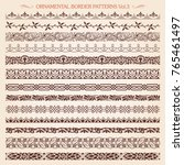 set of vintage style ornamental ... | Shutterstock .eps vector #765461497