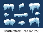 snow ice icicle set winter... | Shutterstock . vector #765464797