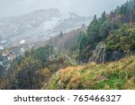 the floibanen funicular tracks... | Shutterstock . vector #765466327