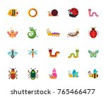 funny insects icon set | Shutterstock .eps vector #765466477