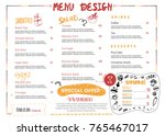 restaurant cafe menu design in... | Shutterstock .eps vector #765467017