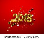 2018 realistic golden sign on... | Shutterstock .eps vector #765491293