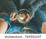 healthy winter breakfast in bed....   Shutterstock . vector #765502147