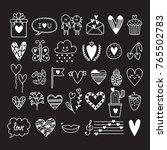 hand drawn set of cute romantic ... | Shutterstock .eps vector #765502783