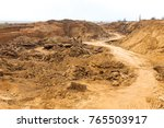 industrial sand quarry. sand... | Shutterstock . vector #765503917