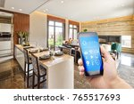 smart phone with smart home and ... | Shutterstock . vector #765517693