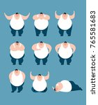 fat set poses and motion. stout ... | Shutterstock .eps vector #765581683
