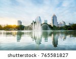 lumpini park in morning ... | Shutterstock . vector #765581827