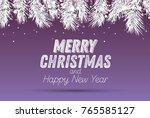 silver fir branch with neon... | Shutterstock . vector #765585127