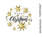 merry christmas golden star... | Shutterstock .eps vector #765591067