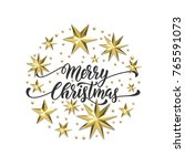merry christmas golden... | Shutterstock .eps vector #765591073