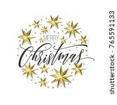 merry christmas golden... | Shutterstock .eps vector #765591133