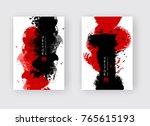 red black ink brush stroke on... | Shutterstock .eps vector #765615193