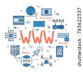 vector linear blue round... | Shutterstock .eps vector #765622537