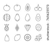 fruit line icon set vector | Shutterstock .eps vector #765625573