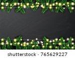fir branch with neon lights on... | Shutterstock .eps vector #765629227