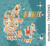 vector stylized map of denmark. ... | Shutterstock .eps vector #765633463