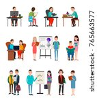 people learn new information... | Shutterstock .eps vector #765663577