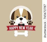 happy new year card with cute... | Shutterstock .eps vector #765672787