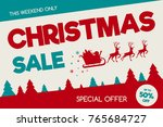 christmas sale banner with... | Shutterstock .eps vector #765684727