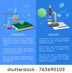 chemistry and biology vector... | Shutterstock .eps vector #765690103