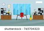 Office interior concept. Modern business workspace with office furniture: chair, desk, bookcase, clock on the wall and window. Vector illustration. | Shutterstock vector #765704323