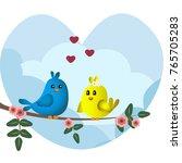cute blue and yellow birds... | Shutterstock .eps vector #765705283