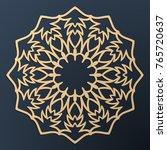 laser cutting mandala. golden... | Shutterstock .eps vector #765720637