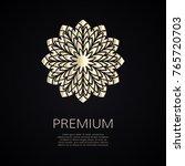 golden flower shape. gradient... | Shutterstock .eps vector #765720703