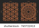 laser cutting set. woodcut... | Shutterstock .eps vector #765722413