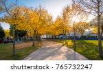 colorful autumn sunrise in... | Shutterstock . vector #765732247