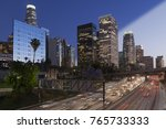 downtown skyline los angeles... | Shutterstock . vector #765733333