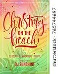 christmas on the beach... | Shutterstock .eps vector #765744697