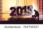 large sparks fly when... | Shutterstock .eps vector #765745327