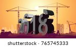 2018 big letters under... | Shutterstock .eps vector #765745333