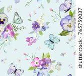 Stock vector seamless pattern with blooming flowers and flying butterflies in watercolor style beauty in nature 765759037