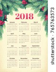 calendar for 2018 year with fir ... | Shutterstock .eps vector #765763573