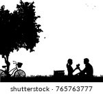 romantic couple in picnic  with ...   Shutterstock .eps vector #765763777