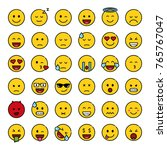 set of cute smiley emoticons ... | Shutterstock .eps vector #765767047