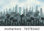 silhouette crowd of people... | Shutterstock . vector #765781663