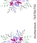 cute watercolor floral frame... | Shutterstock . vector #765781753