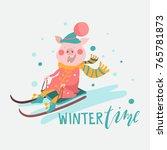 cartoon pig  piggy  piglet on a ... | Shutterstock .eps vector #765781873