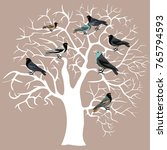 white winter tree with birds on ... | Shutterstock .eps vector #765794593