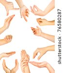 set of woman hands isolated on...   Shutterstock . vector #76580287
