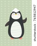 sweet and funny penguin. vector ... | Shutterstock .eps vector #765812947